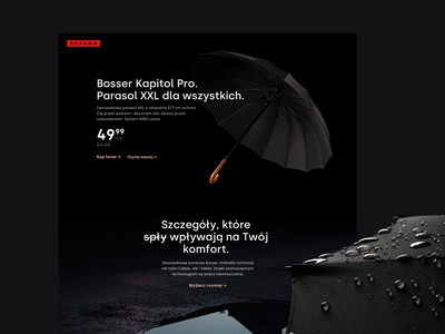 Bosser Umbrella landing page photography e-comerce umbrella dark ui homepage typography web clean website design ux ui landing page design