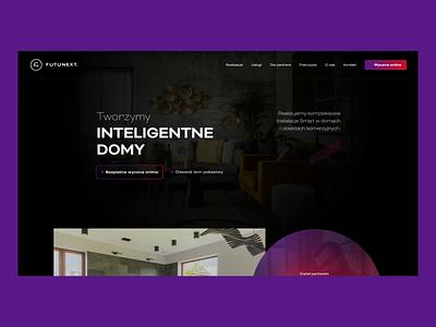 Futunext homepage ux logo identification gradient dark typography web design branding motion graphics animation smart smart home