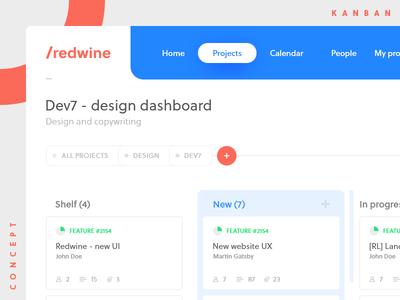 Redwine - kanban concept jira trello ux ui dashboard workflow agile redmine kanban cards boards