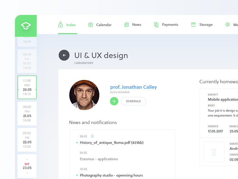 UIC - class view ux university ui redesign experience design dashboard clean