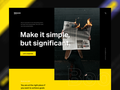Unknown media advertisement media black and yellow black modern intro hero typography homepage experience web clean website design ux ui