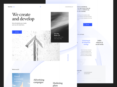Dark Sky Media minimal developement clouds blue and white sky white intro concept hero typography homepage experience web clean website ux design ui