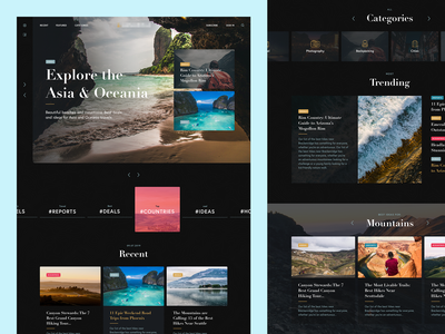Traveling blog dark theme concept intro hero typography homepage experience web clean design ux ui website traveling blog