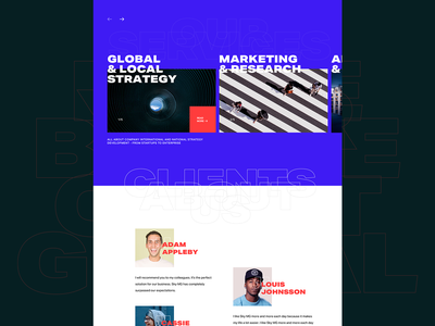 Website sneak peak - Services and testimonials section services testimonials exploration typography homepage experience web clean website design ux ui