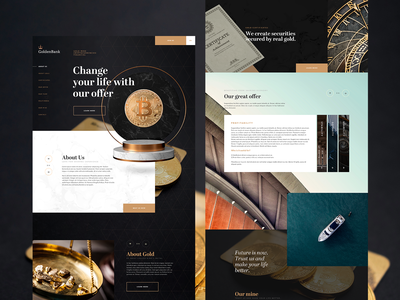 GoldBank v2 webdesign dark ui bank dark theme cryptocurrency bitcoin gold dark concept typography homepage web clean website design ux ui