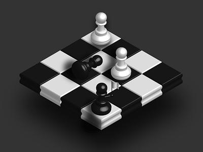 White Flag pawn chessboard flag white black shadows chess