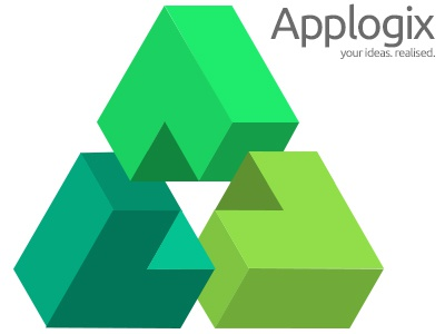 3d Impossible Object a triangle 3d impossible object logo green app logic