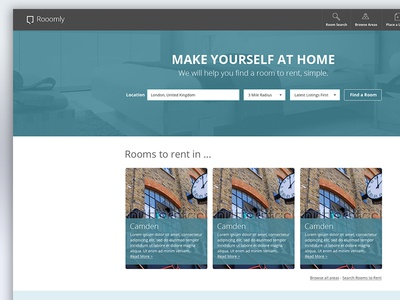 Room Search Website Design search room property