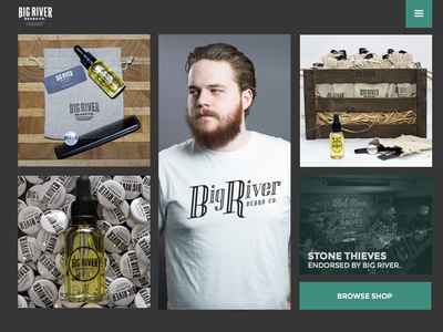 Big River Website - Version #1 home page ecommerice fashion beards website