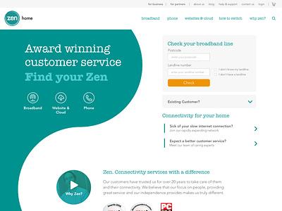 Zen - Residential Home Page design ui website residential yinyang zen isp internet