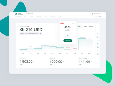 Banking Dashboard - Credit Agricole Fintech concept digital wallet wallet pay payments cards one stop shop design sprint ux dashboard ui ui dashboard financial dashboard fintech financial bank app banking app banking