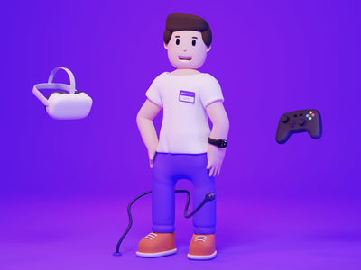 George - 3D character e-commerce clean blender characters gamepad gaming vr technology illustration 3d modeling character design character 3d