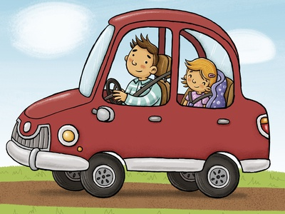 Road trip with dad photoshop digitalillustration illustration dad car road trip