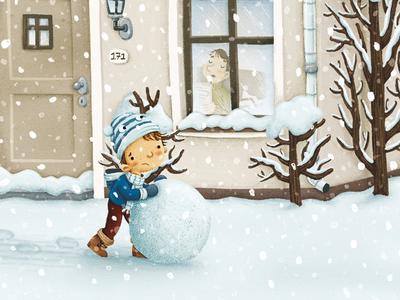 De grootste sneeuwman van de wereld picturebook illustration digitalillustration winter snowman snow