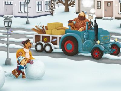 De grootste sneeuwman van de wereld snow dad snowman winter illustration