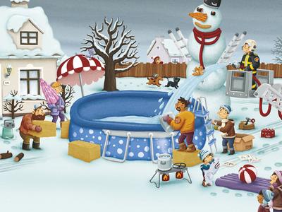De grootste sneeuwman van de wereld winter snowman digitalillustration dad snow illustration