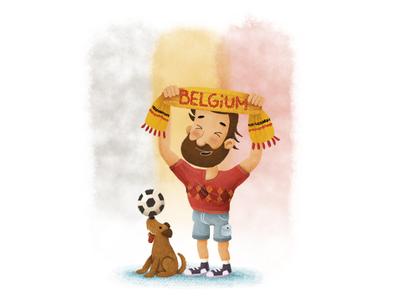 Go Belgium! ball supporter dog russia worldcup2018 illustration football belgium