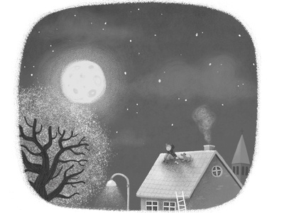 Nightsky lights tree roof moon dark sky night grayscale illustration