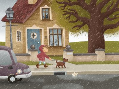 Rainy Day kitty wet tree puddles walk dog rain digitalillustration illustration