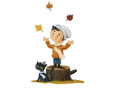 Autumn autumncolours cat boy leaves autumn leaves fall autumn digitalillustration illustration