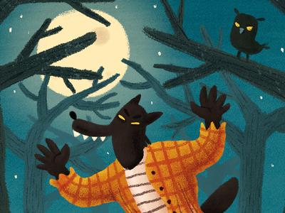 Werewolf owl forest night werewolf halloween digitalillustration illustration