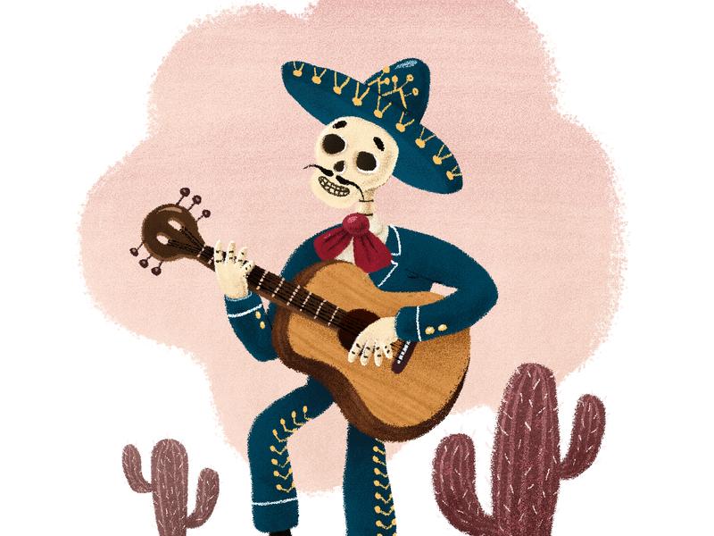 El Mariachi Muerte cactus guitar sombrero mexico mariachi halloween digitalillustration illustration
