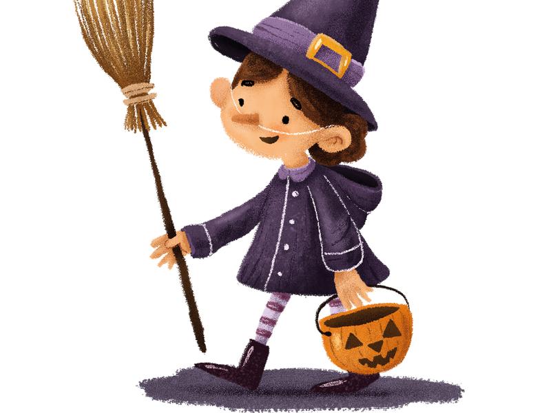 Witch dressup pumpkin witch autumn halloween digitalillustration illustration