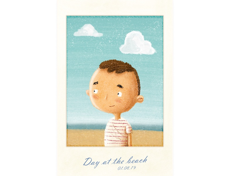 Day At The Beach picture polaroid vacation digitalillustration illustration