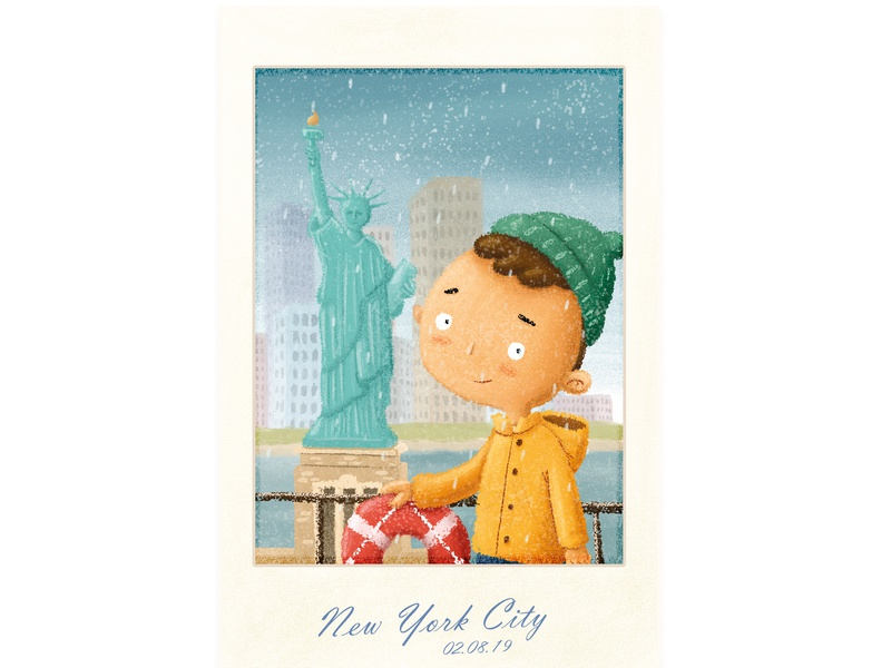 New York with the boat trip picture polaroid digitalillustration illustration