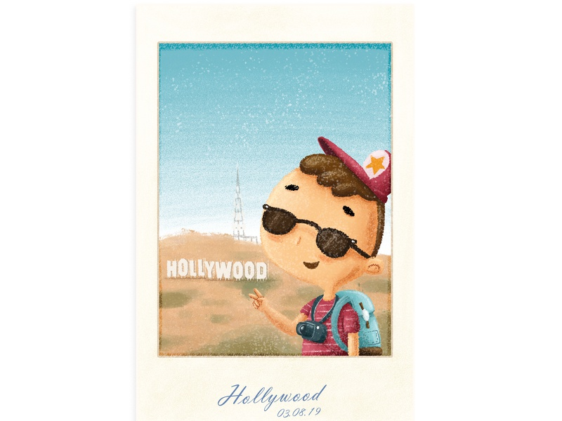 Hollywood picture polaroid trip vacation losangeles hollywood digitalillustration illustration