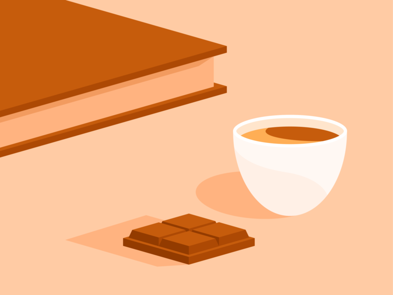 Latte break ☕️ cosy home confinement book fika coffee break break chocolate coffee illustrator illustration