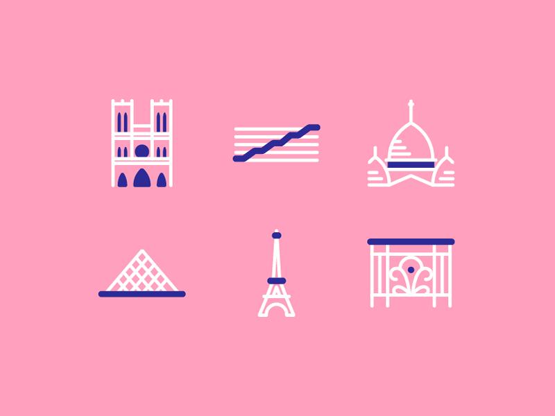 Paris Architectural Icons centre pompidou haussmann louvre sacré coeur eiffel tower icons architecture paris notre dame