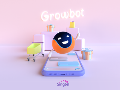 Singtel's Growbot - eCommerce platform mascot singapore branding 3d character 3d design design illustration robot shopping bag gifts shopping cart shopping chat bot mascot character mascot design mascot ecommerce chatbot 3d