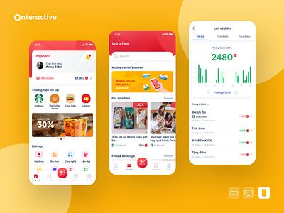 MyPoint via Mobifone - Mobile App Design mobile app design e-commerce app user experience user interface loyalty points app design mobile app