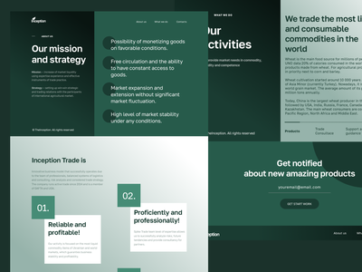 """The Inception Company- """"About us"""", """"What we do"""" adobe figma sketch typography website agency web ui ux minimal design"""