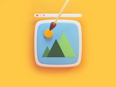 "icon ""IMG"" blender render 3d vector illustration design"
