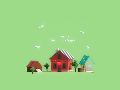 Weekend- low poly render 3d illustration sprinter lowpoly