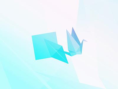 Origami Crane illustration blue paper origami graphic design
