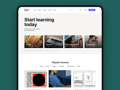 Educational platform web clean ux ui design