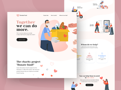 Donating Food free donate charity food donating landing web clean ux ui design