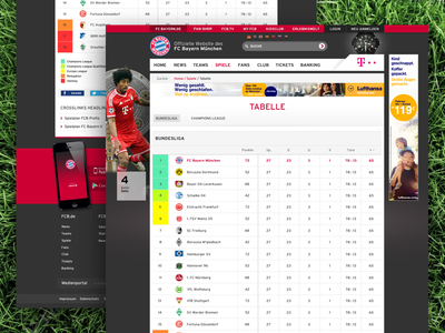 FCB Standings website sport soccer responsive list football fcb table standings
