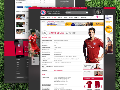 FCB Player Details soccer football player website bayern fcb