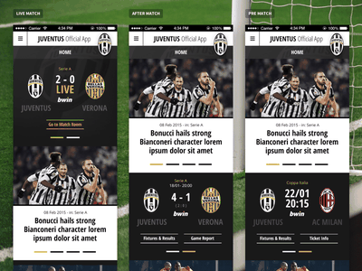 Juve App - Home Matchcenter States states sport soccer tablet phone mobile app football juventus juve