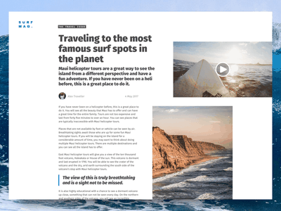 Surf Magazine Article Page magazine article layout exploration