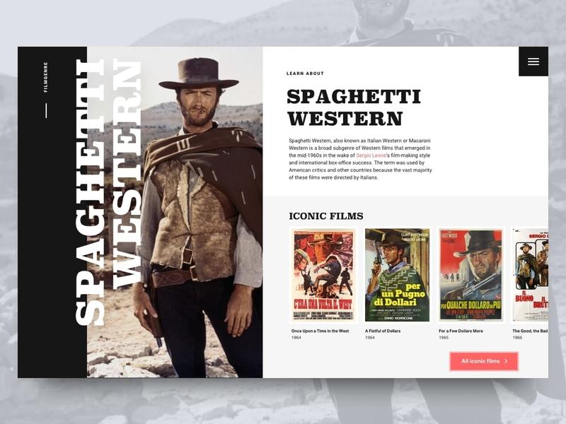 Spaghetti Western movies filmgenre website split layout layout exploration bold type