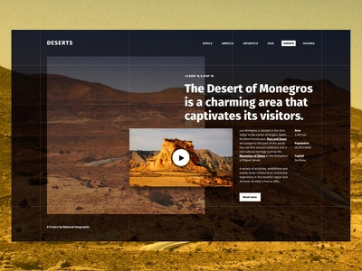 Los Monegros bold type concept ui desert split layout layout design exploration website