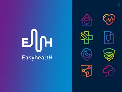 Easyhealth ICON brand health icon logo design illustration