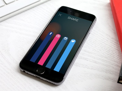 Social share iphone 010 ui daily dribbble instagram twitter facebook share social