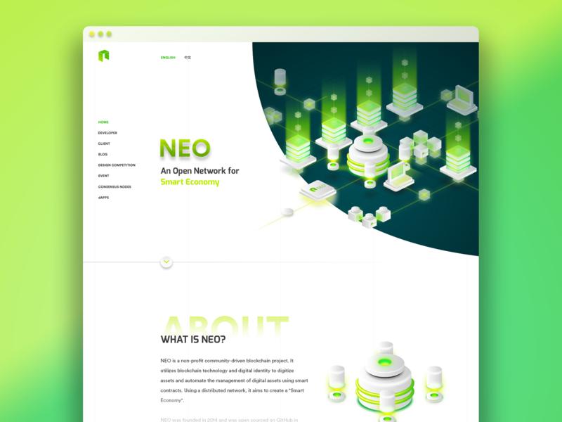 NEO Blockchain - Conceptual Web Design ui web design blockchain neo
