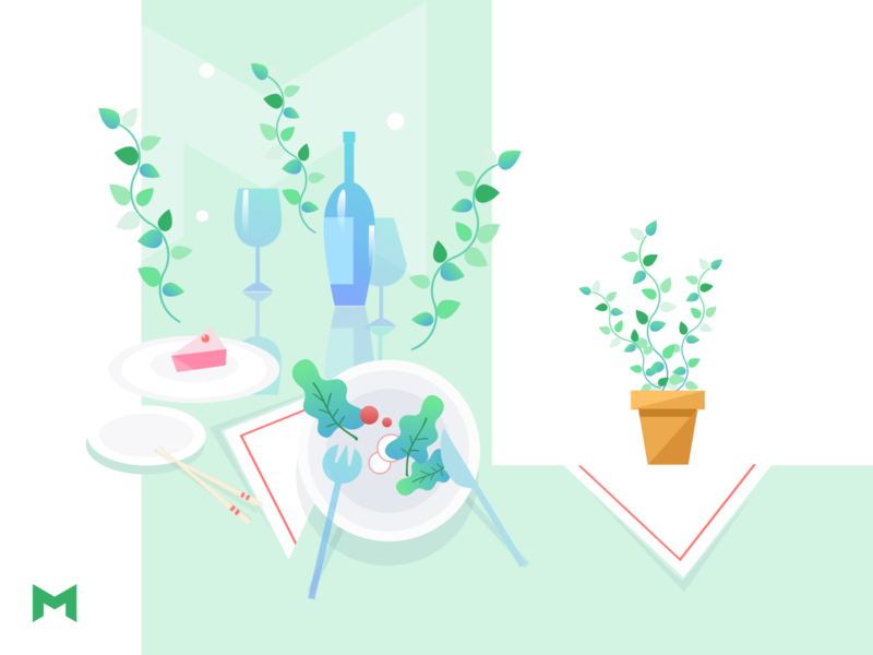 Dinner with us clean minimal flat illustration design branding